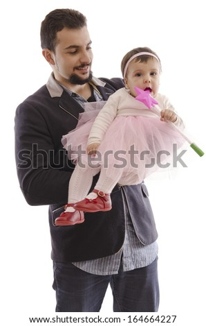 Isolated man with ballet baby and magic wand - stock photo