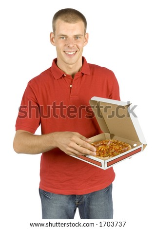 isolated man with box of pizza - stock photo