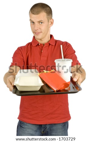 isolated man with fast food tray - stock photo