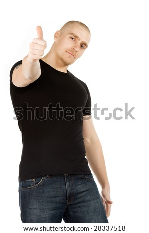 Isolated man with smile on his face in black shirt and blue jeans with thumb up on white background - stock photo