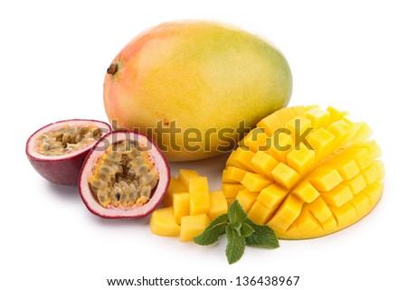isolated mango and passion fruit - stock photo