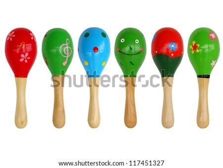isolated maracas are  arranged on white background, musicial instrument. - stock photo