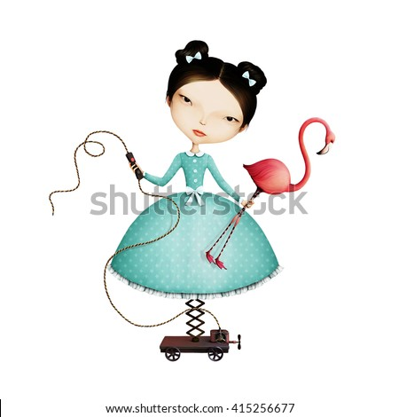 Isolated mechanical girl and flamingos - stock photo