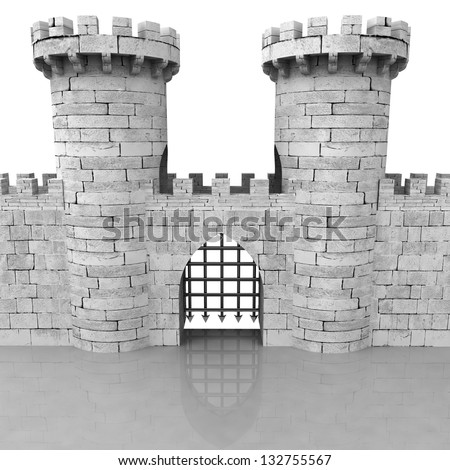 isolated medieval stoned castle gate with towers illustration - stock photo