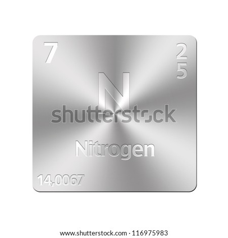Isolated metal button with periodic table, Nitrogen. - stock photo