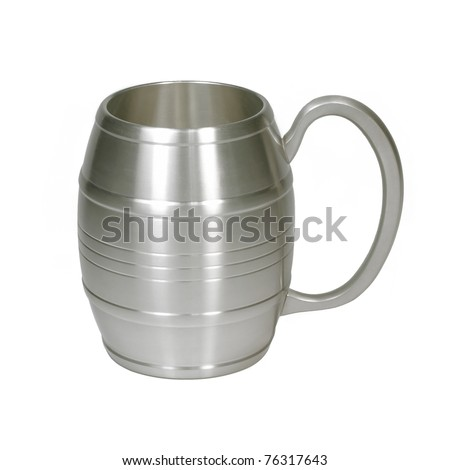 Isolated metal cup on white - stock photo
