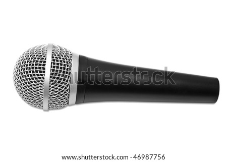 isolated microphone on a white background - stock photo
