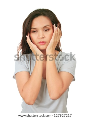 Isolated middle age woman with depressed expression - stock photo