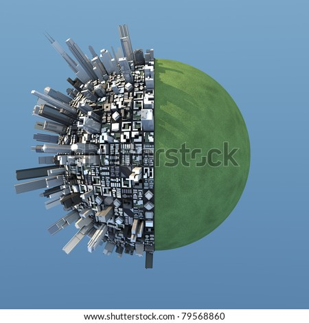 isolated miniature chaotic urban planet - stock photo