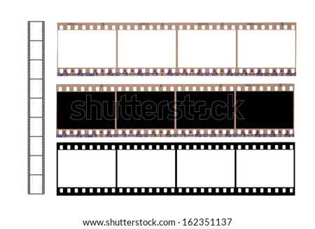 Isolated 36 mm filmstrip  on a white background - stock photo