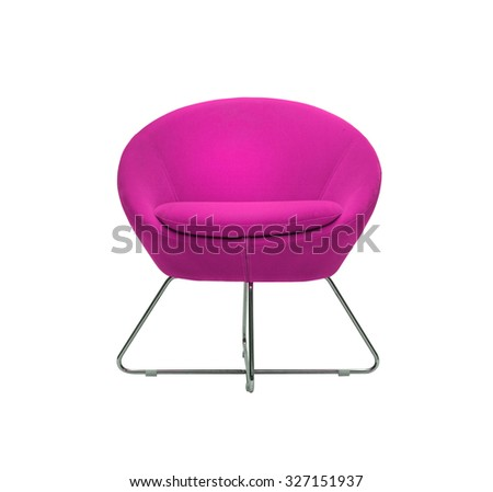 isolated modern purple armchair on white background - stock photo