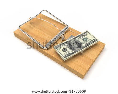 isolated mousetrap with dollars on white background - stock photo