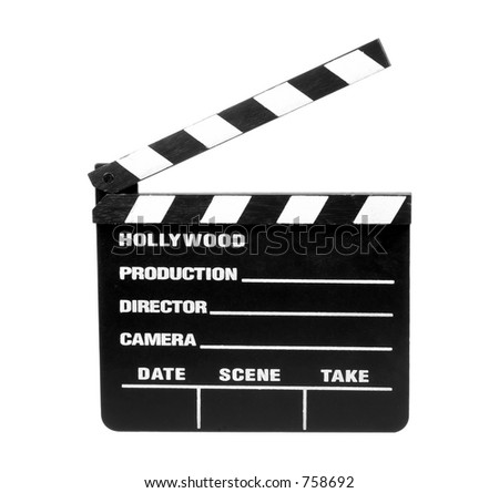 Isolated Movie Slate - Clipping Path - stock photo