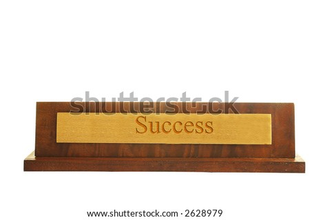 "Isolated nameplate on white with ""success"" text - stock photo"