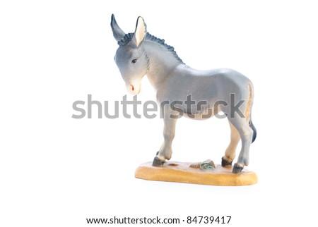 isolated nativity scene; donkey - stock photo