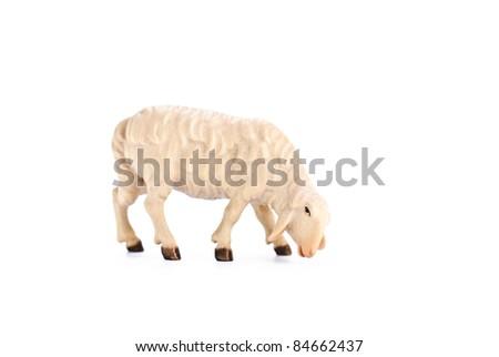 isolated nativity scene, lamb - stock photo