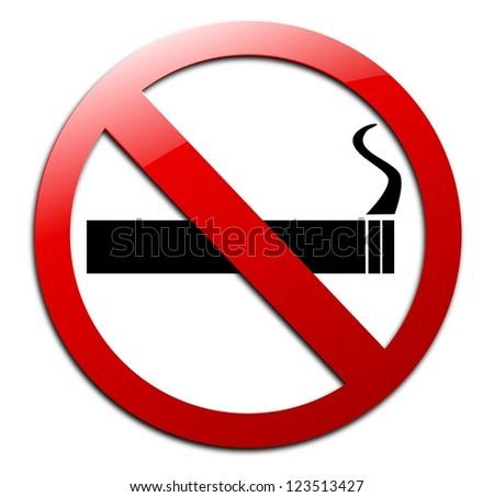 Isolated no smoking sign on white background. - stock photo