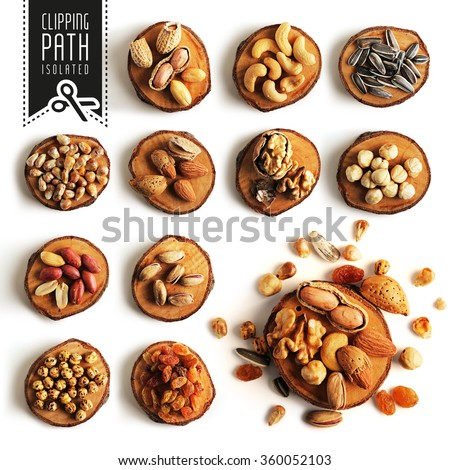 Isolated nuts set with clipping path. - stock photo