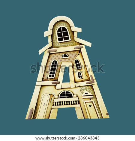 Isolated object as building letter A. Computer graphics. - stock photo