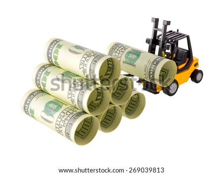 Isolated objects: financial concept, yellow forklift stacking up one-hundred dollar bills, rolled as tubes, isolated on white background. - stock photo