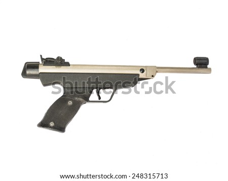 Isolated of Antique silver gun - stock photo
