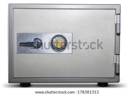 Isolated of bank safe on white background - stock photo