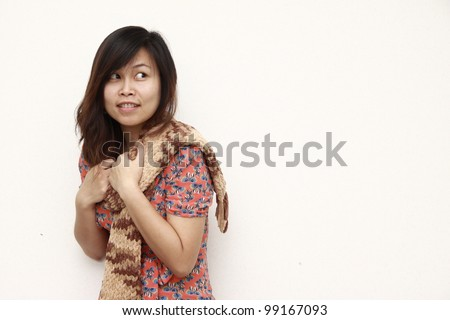 Isolated of beautiful asian woman with scarf and pink dress - stock photo