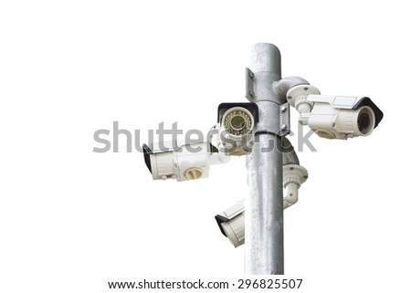 Isolated of Multiple Angle Outdoor CCTV Camera on the Pole - stock photo