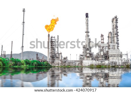 Isolated of Oil and Gas refinery plant with flare stack on white background, Burning oil gas flare in a large oil refinery, Oil-refinery, Industrial-plant background, Petrochemical plant. - stock photo