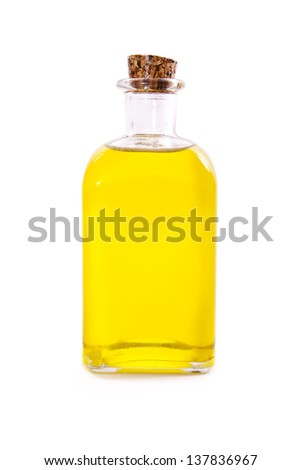Isolated oil bottle with cork, - stock photo