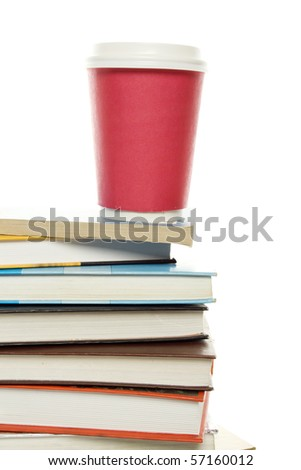Isolated old books / manuals on them is worth the paper cup of coffee - stock photo
