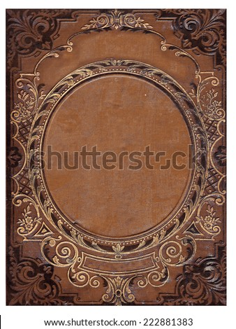 isolated old brown book cover - stock photo