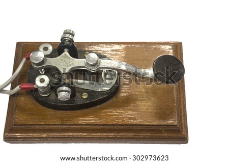 Isolated old morse key telegraph - stock photo