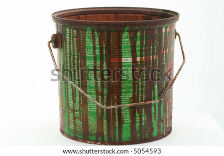 isolated old paint tin - stock photo