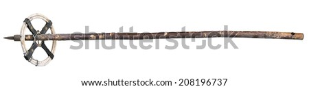 Isolated old ski pole - stock photo