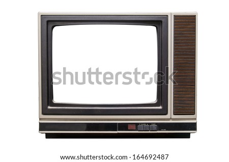 isolated old television with white copy space - stock photo