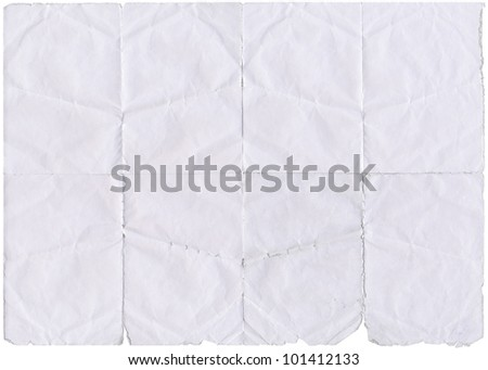 Isolated old white folded paper with torn edges. - stock photo