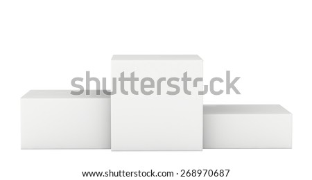 Isolated on a white pedestal winners. 3d render - stock photo