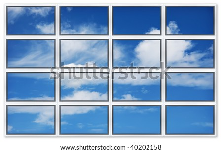 Isolated on white background flat screens displaying the sky. - stock photo