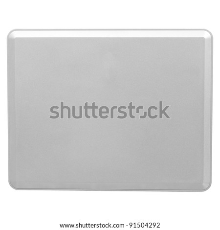 Isolated on white background of the Tablet PC on the back, gray metal. - stock photo