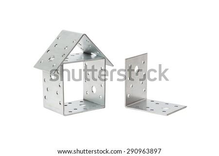 isolated on white background the mounting bracket construction - stock photo