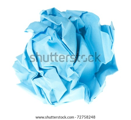 isolated on white crumpled paper into a ball - stock photo