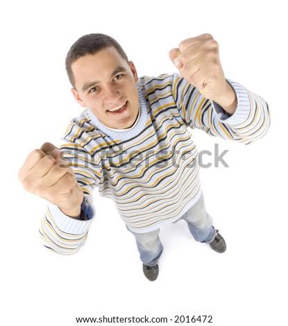 isolated on white headshot of happy man - stock photo