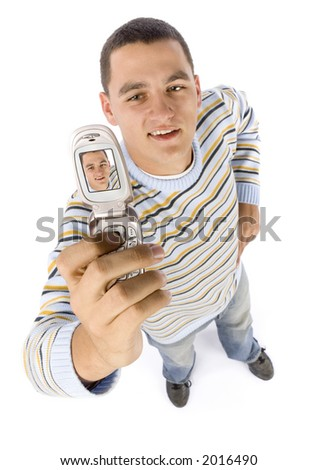isolated on white headshot of man making picture by mobile phone - stock photo