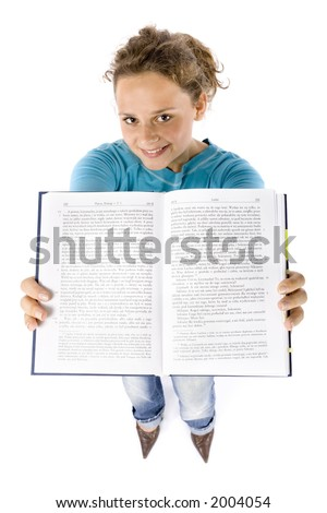 isolated on white headshot of young woman with book (Platon - copyright free) - stock photo