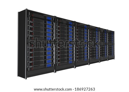 Isolated on White Large Servers Rack 3D Render Illustration. - stock photo