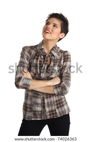 isolated on white: young fashion model (teenage girl) with short hair and make-up professionally done, with a smile and friendly expression - stock photo