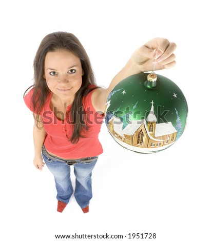 isolated on white young woman with christmas bauble - stock photo