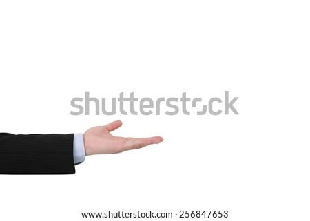 isolated open palm hand on white background - stock photo