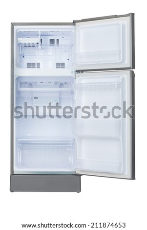 isolated opened empty refrigerator on white background - stock photo